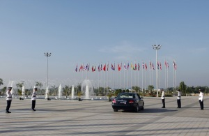 Traffic polices wait in front of the MICC before the fourth GMS Economic Cooperation Summit in Naypyitaw
