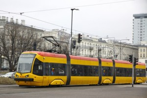 Modern tram on a street of Warsaw, Poland