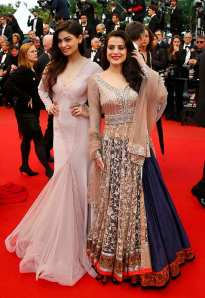 "Actresses Ameesha Patel and Puja Gupta arrive for the screening of the the film ""All is Lost"" in competition during the 66th Cannes Film Festival"