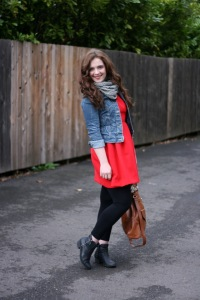 DIY red dress jean jacket scarf and leggings (2)